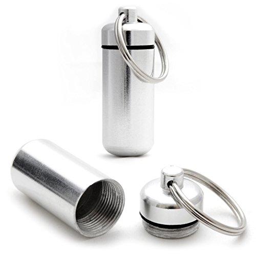 Ganzoo Pillen-Dose, Pillen-Box, 2 er Set Aluminium-Kapsel, Schlüssel-Anhänger mini, wasserdicht, Farbe: silber, Höhe: 45mm