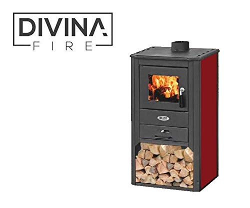 Divina Fire Stufa a legna 8-9Kw rossa + portalegna riscaldamento casa DF51698