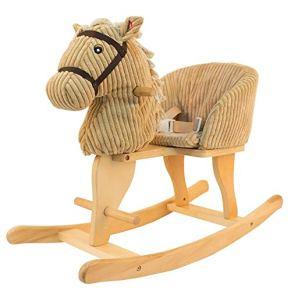 Caballo de oscilación del bebé, Caballo de madera para niños Caballo mecedora Caballo de madera maciza Música Caballo mecedora Juguete para bebés Silla mecedora Bebé Regalo de cumpleaños 75.5 * 30 * 5