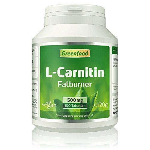 L-Carnitin, 500 mg, hochdosiert, 100 Tabletten, vegan - Fatburner, schleust Fett zur Verbrennung direkt in die Kraftwerke der Zellen. OHNE künstliche Zusätze. Ohne Gentechnik.