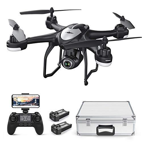 Potensic Drone GPS Professionale T18 FPV con Telecamera 120 ° Grandangolo Regolabile HD 1080P Dual GPS Fotocamera Seguimi RTH con Telecomando, Due Batterie, Valigetta