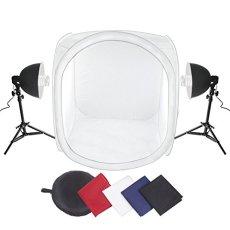 Amzdeal Caja de luz 80 x 80 cm con  2 x 135 W Lámpara fotográfica + Soporte de lámpara + 4 x Fondos (Negro / Blanco / Azul / Rojo) Kit de iluminación para estudio fotográfico