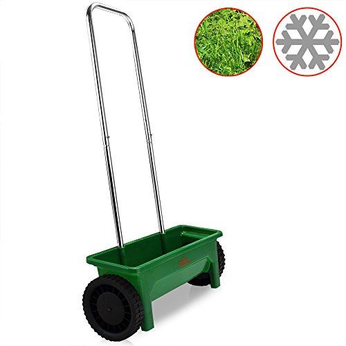 Streuwagen 12L praktische Stellfüße 50cm Streubreite Streuer Saatgut Düngerstreuer für Salz Dünger Rasen Split