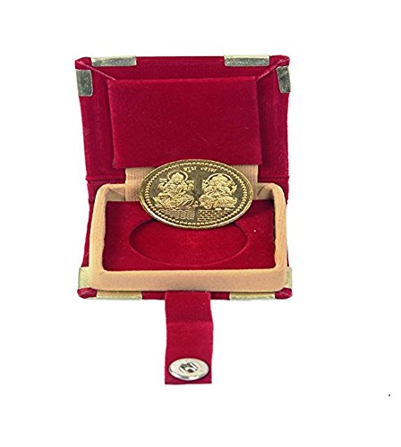 Chandrika Pearls Gems & Jewellers Dhanteras Diwali 24 Carat Gold Plated German Silver Coins laxmi Ganesh sikka with Box for Gift
