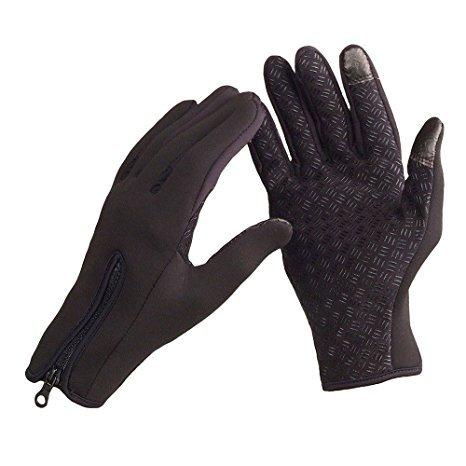 Okayji Touchscreen Windproof Warm Gloves Pair, Black