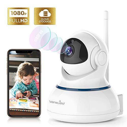 Wansview Caméra de Surveillance WiFi 1080P Cloud Caméra IP, Caméra de Sécurité avec Vision Nocturne, Audio Bidirectionnel, PTZ Q3s Blanche