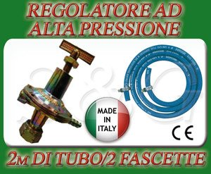REGOLATORE ALTA PRESSIONE CUCINE STUFE BARBECUE GAS + 2M DI TUBO + 2 FASCETTE