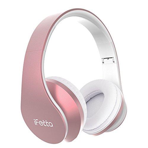 Bluetooth Kopfhörer, Ifecco Bluetooth Headset Wirless Ohrpolster Kopfhörer, Stereo-Headset Sport Hörer Kompatibel mit Allen Gängigen Smartphones/Tablets/Notebooks (Neu golden rose)