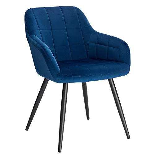 WOLTU BH93bl-1 Poltroncina Camera da Letto in Velluto Blu, Sedia Sala da Pranzo con Braccioli Gambe in Metallo