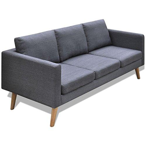 vidaXL Divano sofa divanetto in tessuto a 3posti grigio scuro arredo casa studio