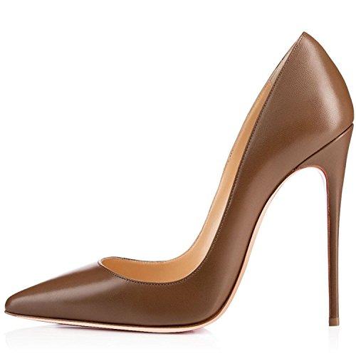 34697604b2 Soireelady Scarpe Col Tacco Donna,Scarpe da Donna 12cm Stiletto,Scarpe  Chiuse Donna Marrone EU40