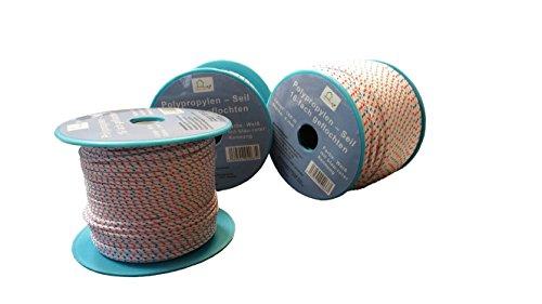6mm Flechtleine - Seil auf Rolle - 6 mm x 50 m weiß/blau/rot Polypropylenseil PP, Festmacherleine, Allzweckseil, Strick, Leine, Flechtleine - Bruchlast: 380 kg - 50 m - Rolle (€ 0,29 / m)
