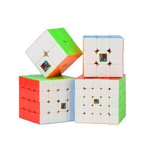 ROXENDA Cubos de Velocidad, Speed Cube Set de Moyu 2x2 3x3 4x4 5x5 Stickerless Cube, con Caja de Regalo y Tutorial…