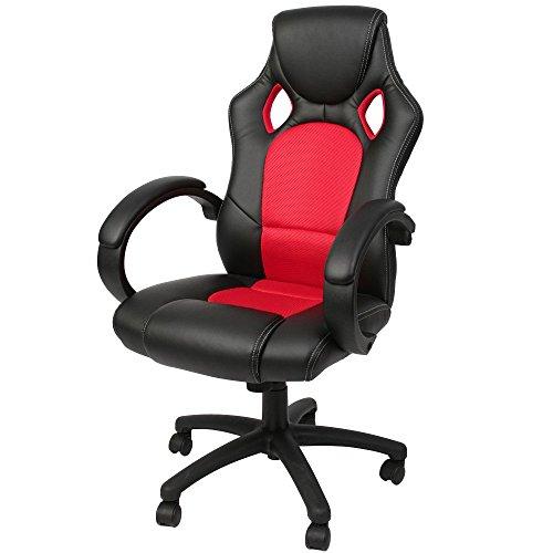Miadomodo - Silla de oficina moderna de cuero sintético - color rojo