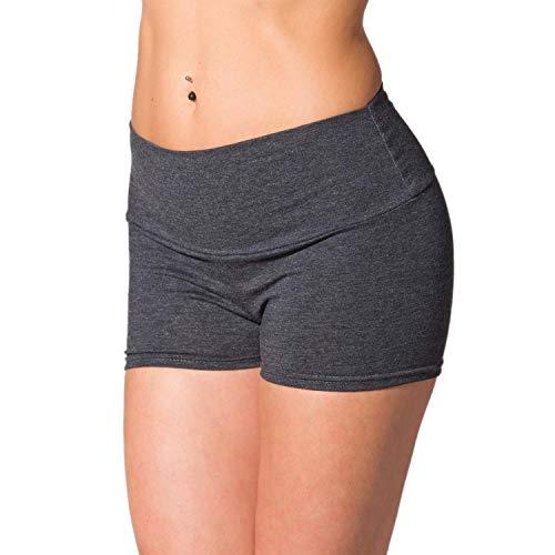 Alkato Damen Sport Shorts mit Hohem Bund Hotpants, Farbe: Melange/Graphit, Größe: 38