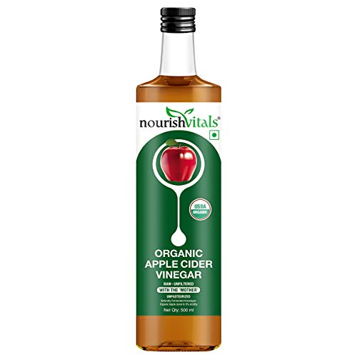 NourishVitals USDA Organic Apple Cider Vinegar - Raw, Unfiltered with Mother Vinegar - 500ml