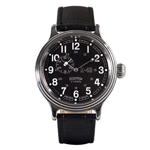 Vostok, orologio da polso retrò KIROVSKIE K-43 della seconda guerra mondiale auto-carica da uomo, cinturino in pelle #540933