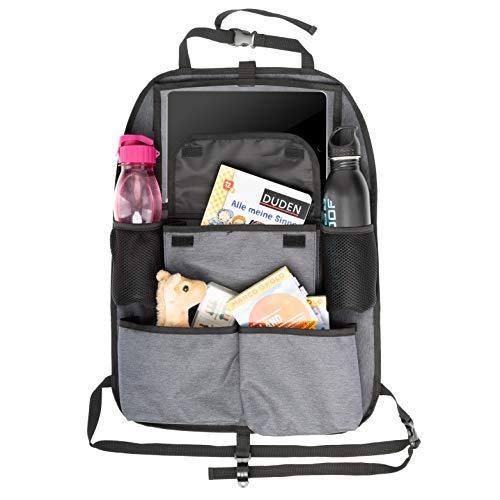TIMARO Rücksitz Organizer Auto | Universal Kickmatte Sitzschutz Rückenlehnenschutz Rückenlehneschoner iPad - Tabletfach für Kinder | Organizer Rücksitz Tasche Kinder Rückenlehenetasche 580x420 (klein)