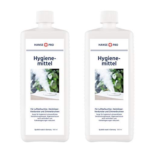 Hansepro Hygienemittel, 2 x 1000 ml - Konservierungs-Mittel für Luftbefeuchter, Luftreiniger, Luftwäscher, Heizkörper-Verdunster, Zimmerbrunnen - hält Verdunstwasser hygienisch einwandfrei