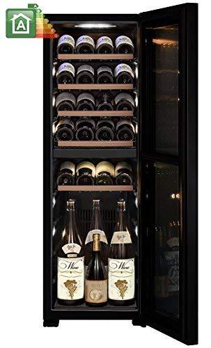 VINUMDesign Cantina vino VD40D-FG con porta full glass nera da 40cm