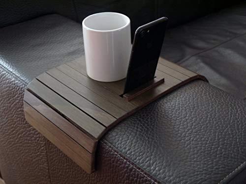 Piccolo tavolino laterale da bracciolo divano con supporto cellulare in molti colori come wenge...