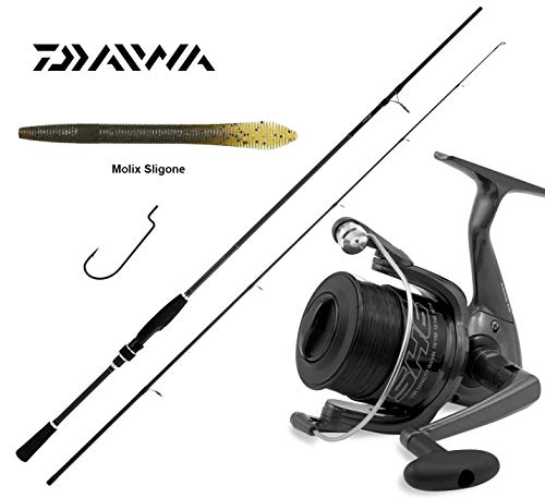 Daiwa Super Kit Spinning Black Bass Canna Ninja 7-25gr + Mulinello di Nuova Generazione SK6 4000 FD + Molix Sligone Worm 5,5 + AMI KAPTURA Texas RIG O'SHAUGHNESSY Worm
