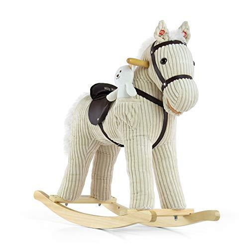 MILLY MALLY 5901761122183-Cavallo a Dondolo Giocattolo a Dondolo con Effetti sonori Orsacchiotto, Bianco