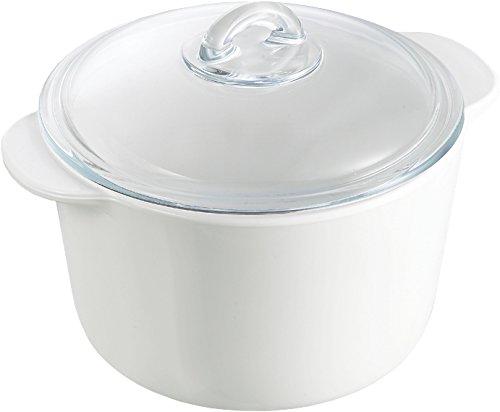 Pyrex Flame - Cacerola redonda, 2 l, vidrio cerámico, color blanco + tapa, transparente