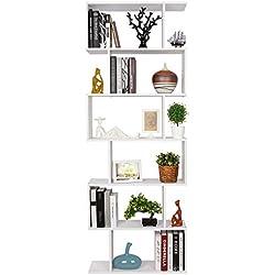 HOMFA S-Form Bücherregal Raumteiler Regal Standregal Ablageregal Büroregal Aktenregal Wandregal für Diele, Flur, Büro mit 6 Ablagen 190.5*70*23.5 cm (H x B x T)
