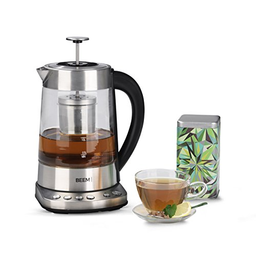 BEEM TEATIME Tee- und Wasserkocher - 1,7 l | BASIC SELECTION | Integriertes Teesieb | Edelstahl | 4 individuelle Tee-Programme (70|80|90|100° C)