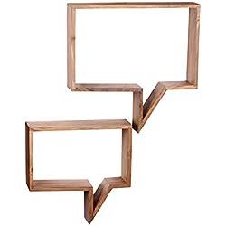 RELAXFAIR Wandregal Bücherregal Wand Board 2er Set / Massiv-Holz Braun Naturprodukt / Schlafzimmer Flur Küche Wohnzimmer Kinderzimmer / FSC-zertifiziert (Akazie)