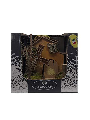 euromarchi Mulino a Vento Elettrico per Presepe 14x14x15 cm Decorazione Natale