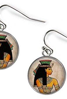 Antiguo Egipto princesa–cuadro de cristal pendientes–plateado (BC2)