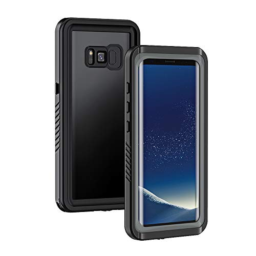 Lanhiem für Samsung Galaxy S8 wasserdichte Hülle, [IP68 Zetrifiziert Wasserdicht] Handy Hülle mit Eingebautem Displayschutz, Stoßfest Staubdicht Schneefest Outdoor Schutzhülle - Schwarz+Grau