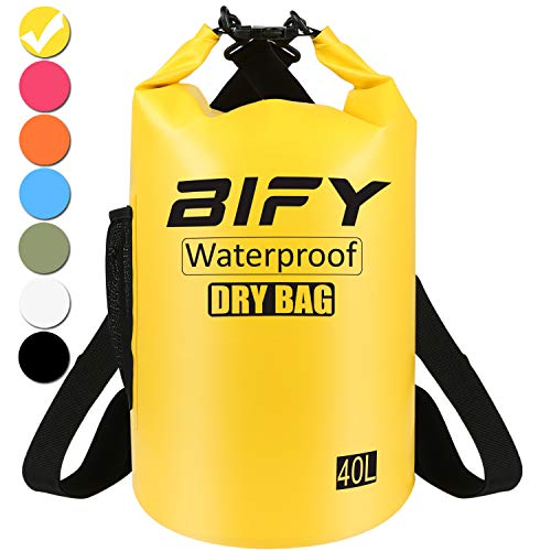 Dry Bag BIFY 5L/10L/15L/20L/25L/30L/40L Leicht Wasserfester Rucksack/Wasserdichte Tasche/Trockensack mit lang Verstellbarer Schultergurt für Boot und Kajak Wassersport Treiben (Gelb, 40L)