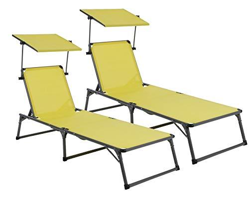 Baltico 2er Set Aluminium Sonnenliege mit Dach, Gartenliege, Dreinbeinliege, klappbar, verstellbares Rückenteil, 193 x 67 x 32 cm (Gelb/grau)