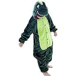 DEBAIJIA Pijama Animal Dinosaurio para Niños Niñas Disfrace Cosplay Franela Traje del Anime Invierno Calentito Pyjamas Navidad Onsie Verde-115