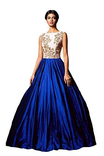 Clickedia Women's Bhagalpuri Silk Blue & White Semi - Stitched floor length Gown