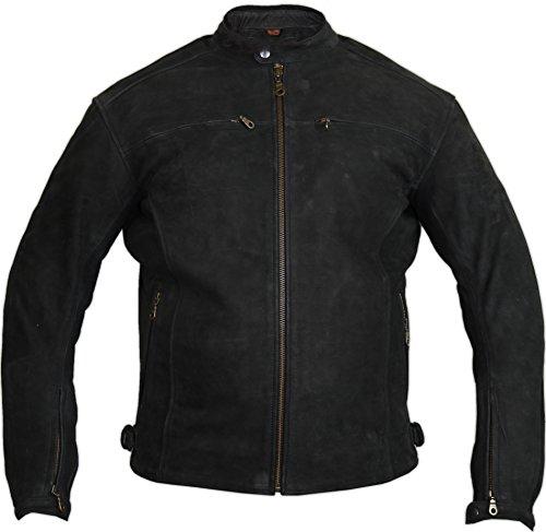 Motorrad Lederjacke aus echtem Nubuk Leder in matt schwarz 1