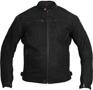 Motorrad Lederjacke aus echtem Nubuk Leder in matt schwarz 5