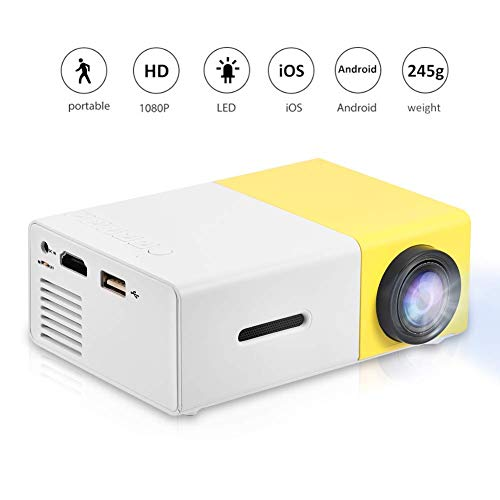 Mini Projector Portable 1080P LED Projector Home Cinema Theater Indoor/Outdoor Movie projectors Support Laptop PC Smartphone HDMI Input Great Gift Pocket Projector for Party and Camping