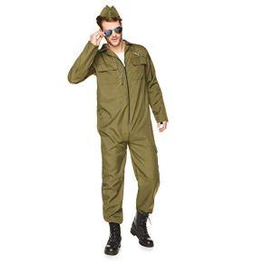 Karnival Costumes- Fighter Pilot Disfraz, Color verde, medium (82043)