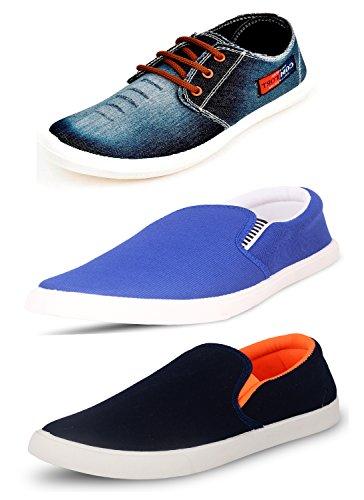 Scatchite Men's Pack of 3 Premium Casual Shoes (8, Blue)