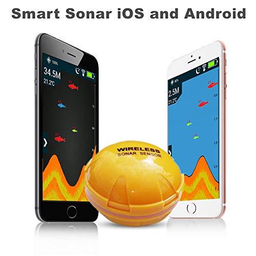 DYQTY Cercatore di Pesci Portable con Sensore Sonar Wireless Cellulare Fish Finder con iOS Android App Ecoscandaglio Intelligente