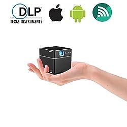 Kaufen ExquizOn Beamer DLP Wifi, Mini Video Projektor 1080P HD, S6 Pico Tragbar, 2500mAH Wiederaufladbar, inkl. Stativ, HDMI Micro SD DC, Fussball Heimkino für Smartphone PC Tablet Familie Sitzung (Schwarz)