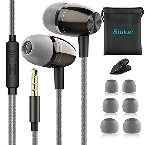 Blukar Auricolari, Ear Auricolari Cuffie Stereo in Metallo con Microfono - Alta Definizione, Bassi...