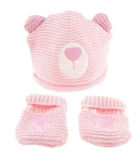 Super cute Baby Girls Winter fine Knit 100% cotone Beanie Bear Face Cap & muffole 0-3 mesi rosa rosa...