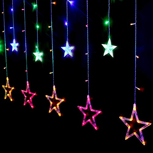 Salcar Catena di luci a LED con sfera a LED, 12 stelle, 138 luci, tenda a stella, 8 modalità, per Natale, feste - bianco caldo