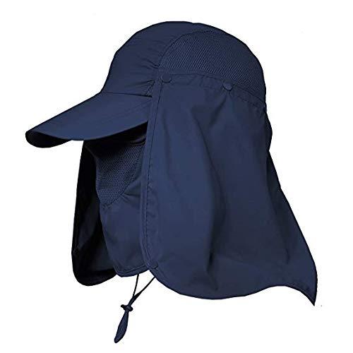 Fashion Man & Women Outdoor Sun Hat Fishing Cap Face Neck Flap Cover Hats 360° Solar Protection UPF 50+ Sun Cap (Navy Blue)