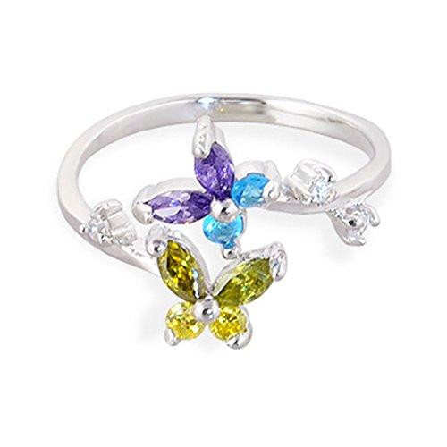925. Plata esterlina de la mariposa de cristales multicolores anillo del dedo del pie